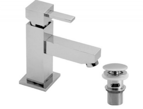 Vado TE-100M/CC-C/P Chrome Single Lever Mini Mono Basin Mixer with Waste